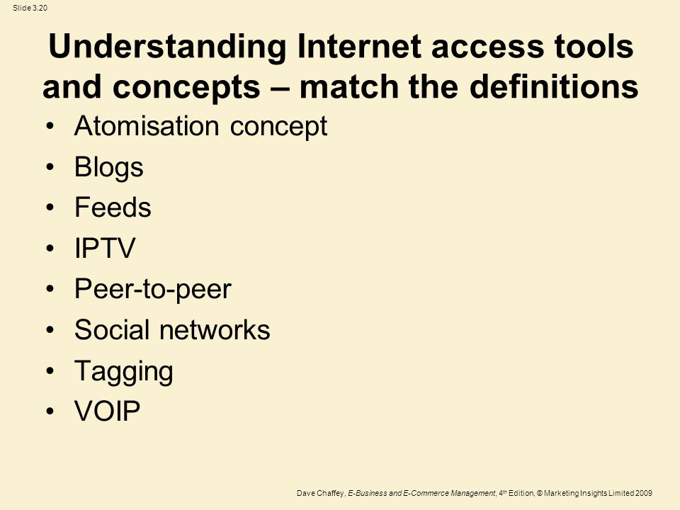 Understanding Internet access tools and concepts – match the definitions