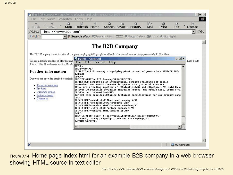 Figure 3.14 Home page index.html for an example B2B company in a web browser showing HTML source in text editor