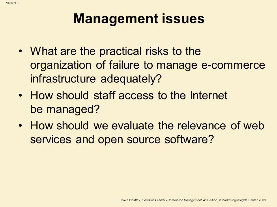 Management issues What are the practical risks to the organization of failure to manage e-commerce infrastructure adequately