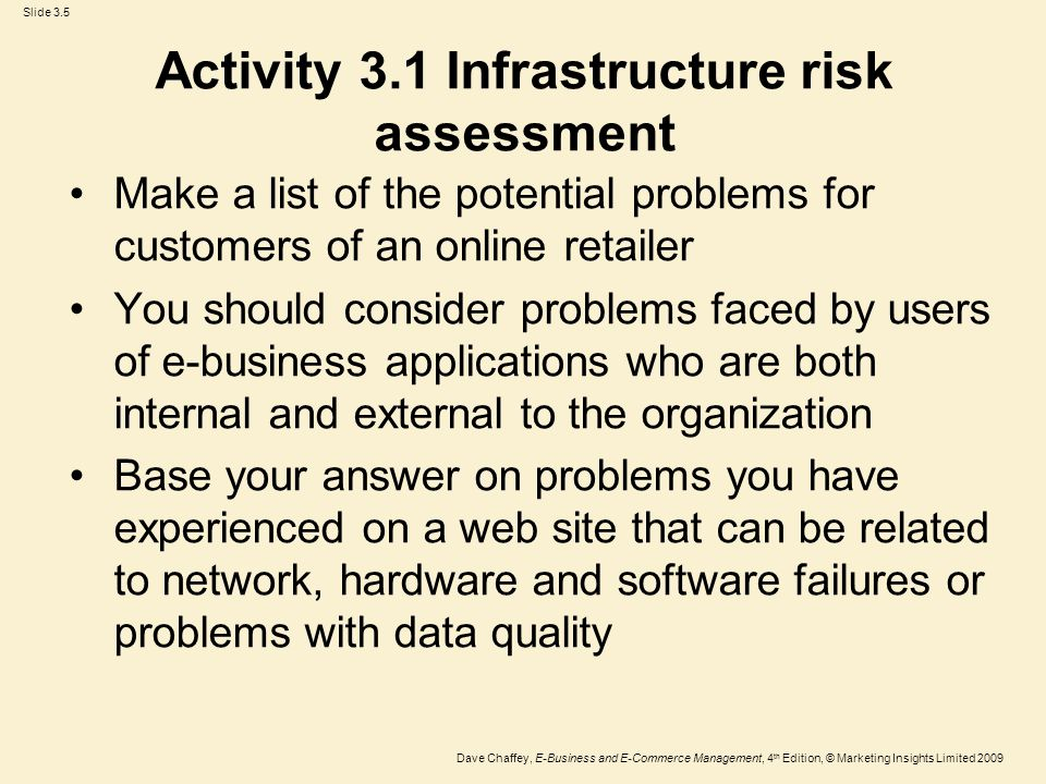 Activity 3.1 Infrastructure risk assessment