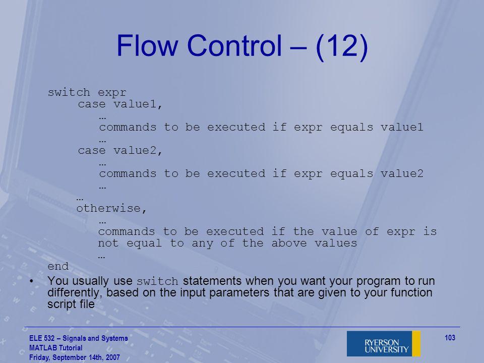Flow Control – (12)