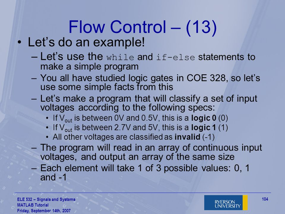 Flow Control – (13) Let's do an example!