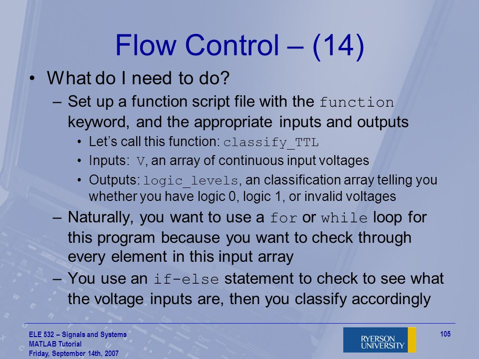 Flow Control – (14) What do I need to do
