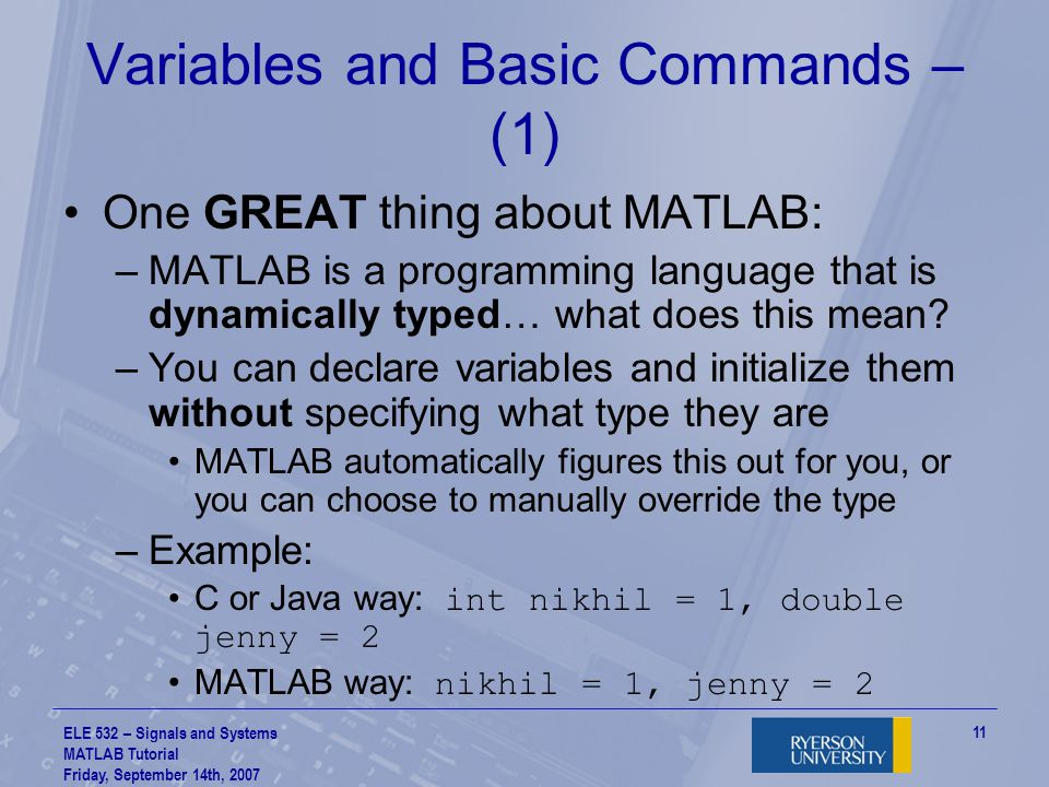 Variables and Basic Commands – (1)