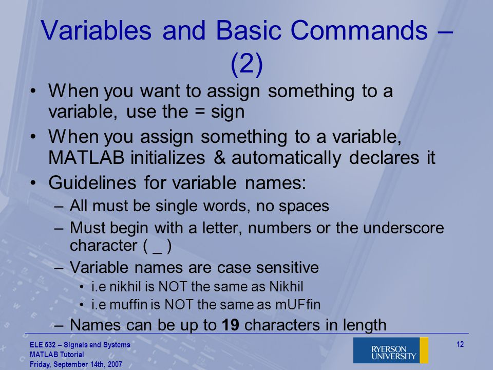 Variables and Basic Commands – (2)