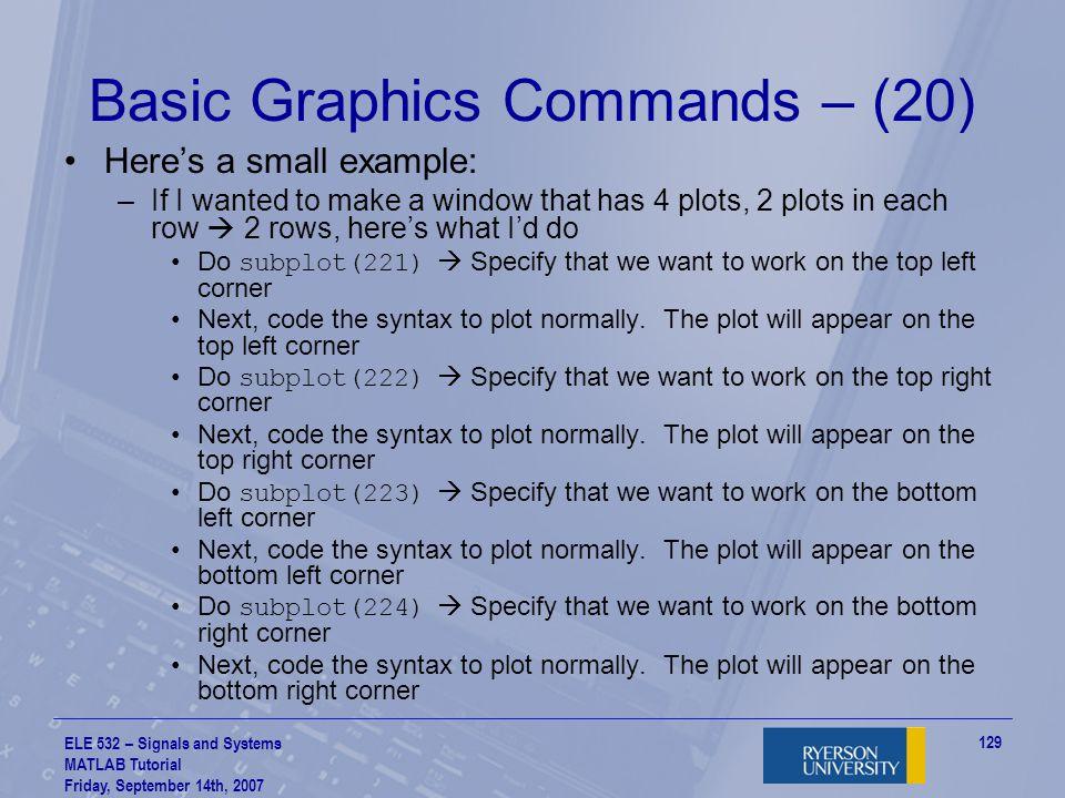 Basic Graphics Commands – (20)
