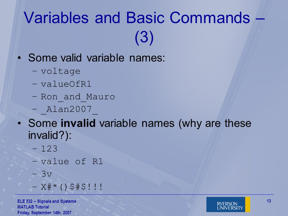 Variables and Basic Commands – (3)