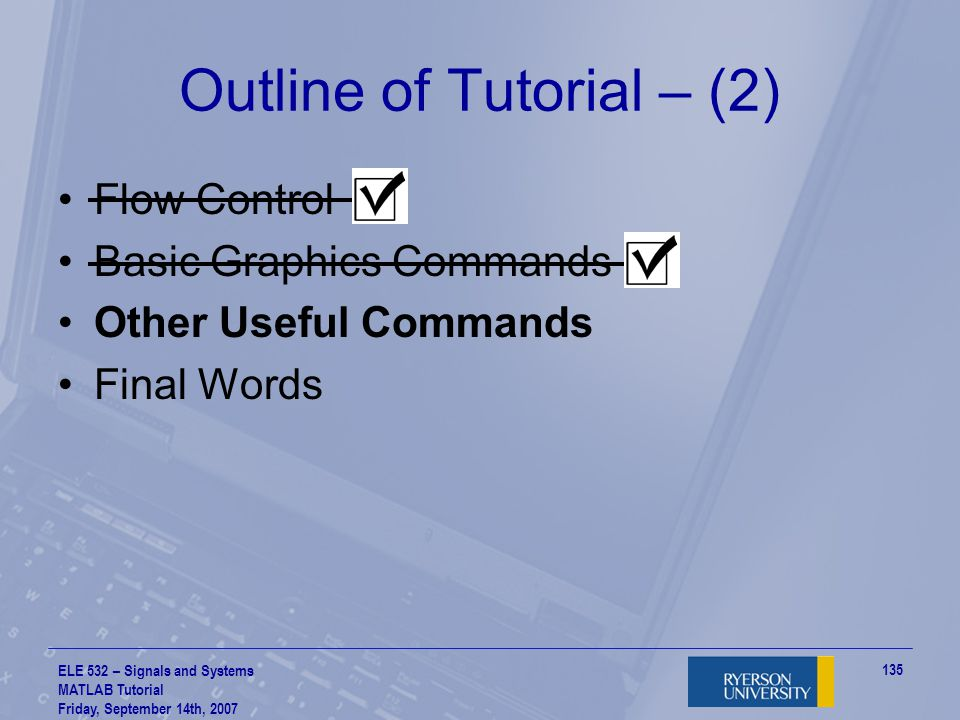 Outline of Tutorial – (2)