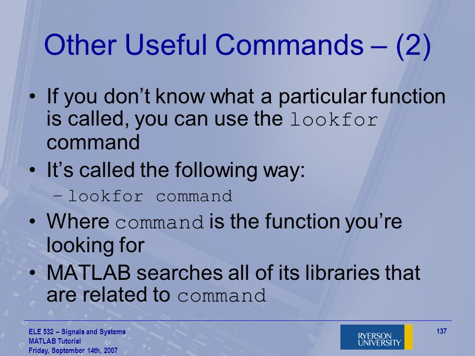 Other Useful Commands – (2)