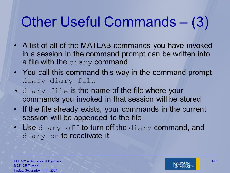 Other Useful Commands – (3)