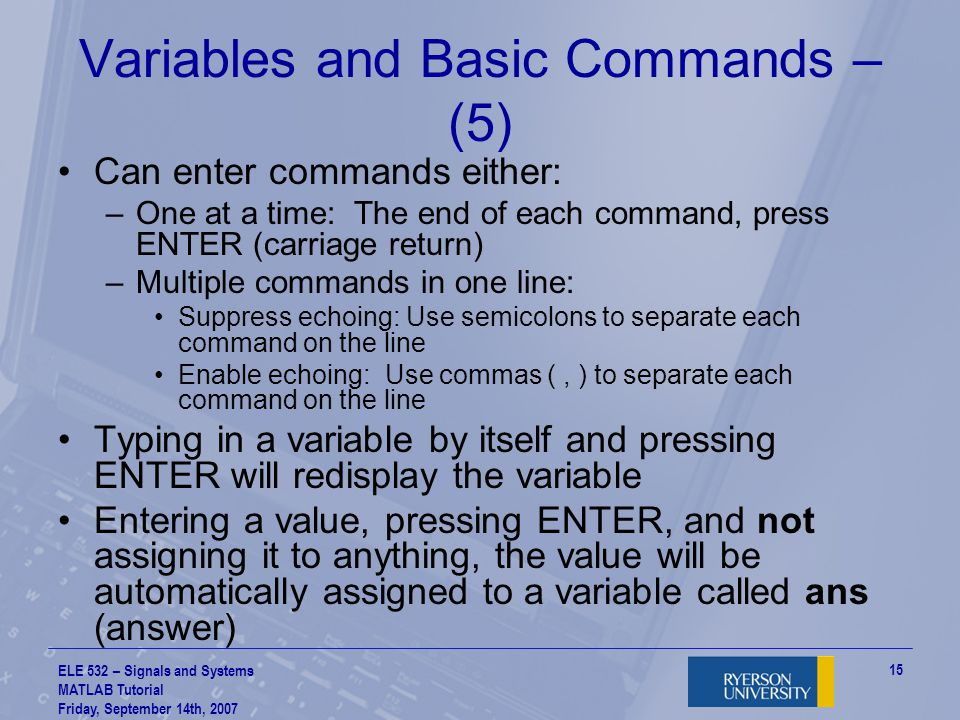 Variables and Basic Commands – (5)