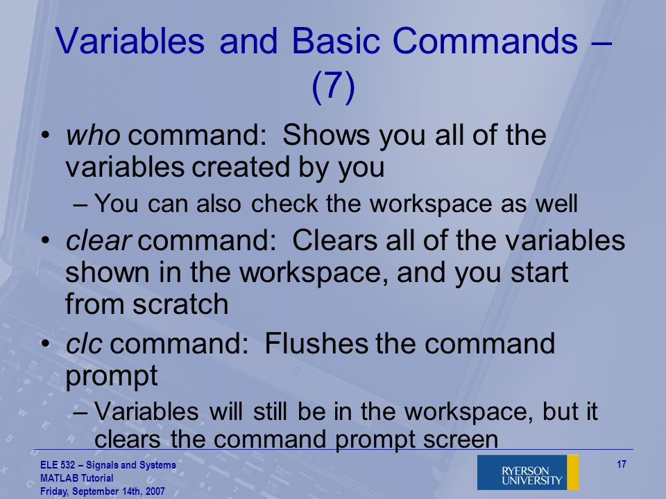 Variables and Basic Commands – (7)