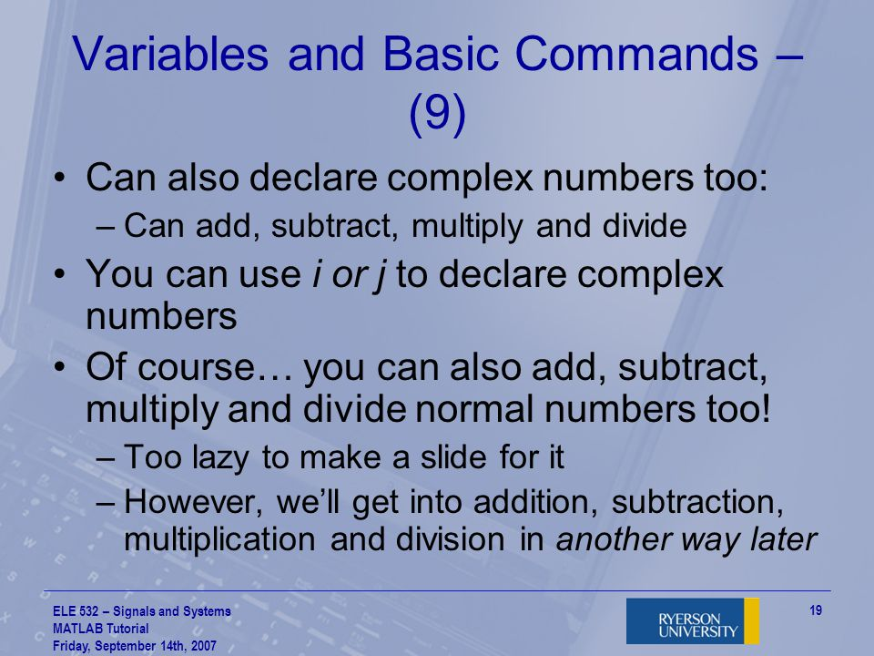 Variables and Basic Commands – (9)
