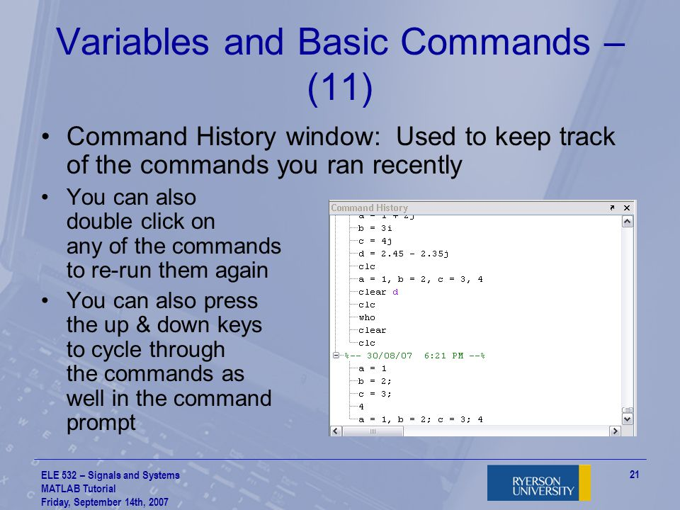 Variables and Basic Commands – (11)