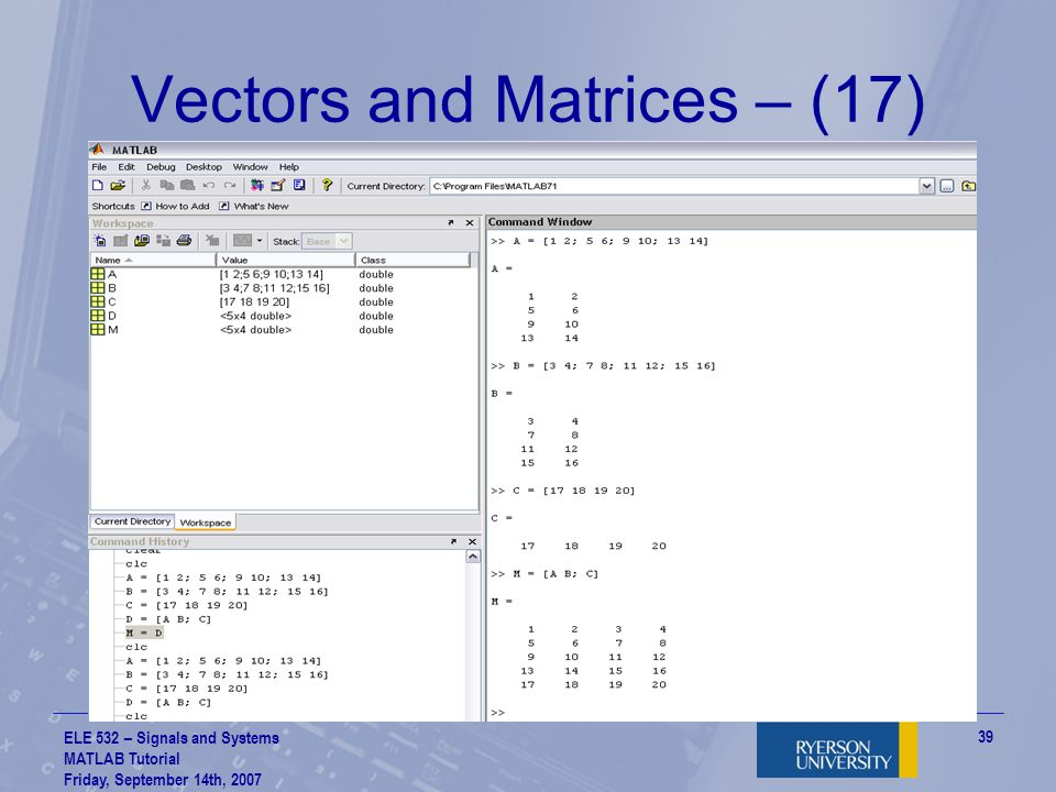 Vectors and Matrices – (17)
