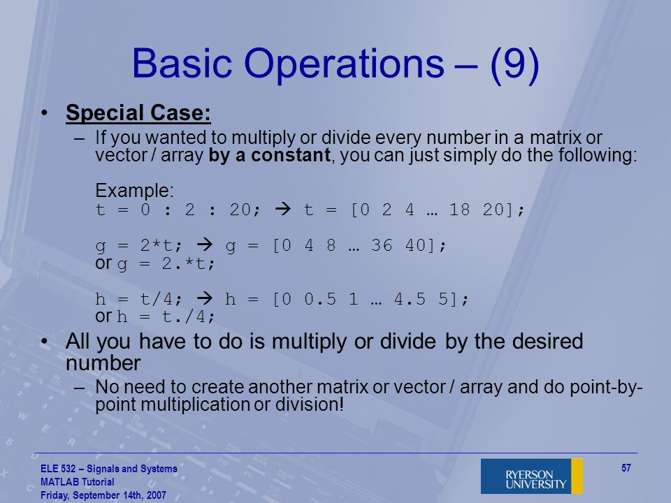 Basic Operations – (9) Special Case: