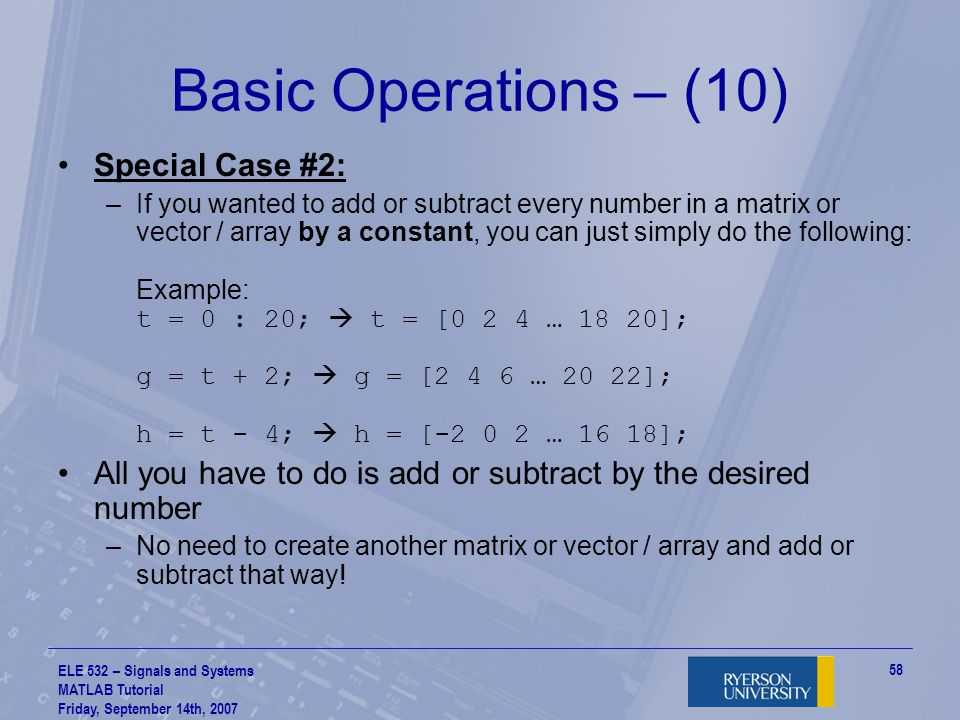 Basic Operations – (10) Special Case #2: