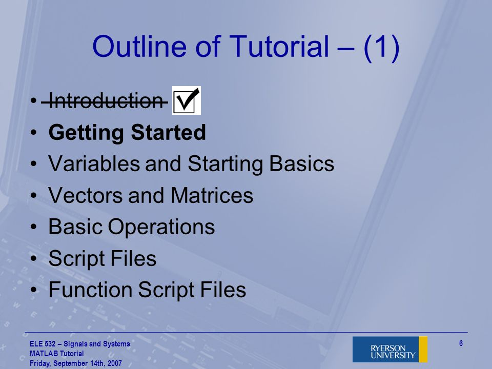 Outline of Tutorial – (1)