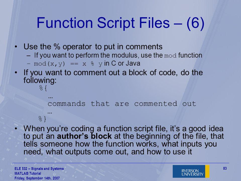 Function Script Files – (6)