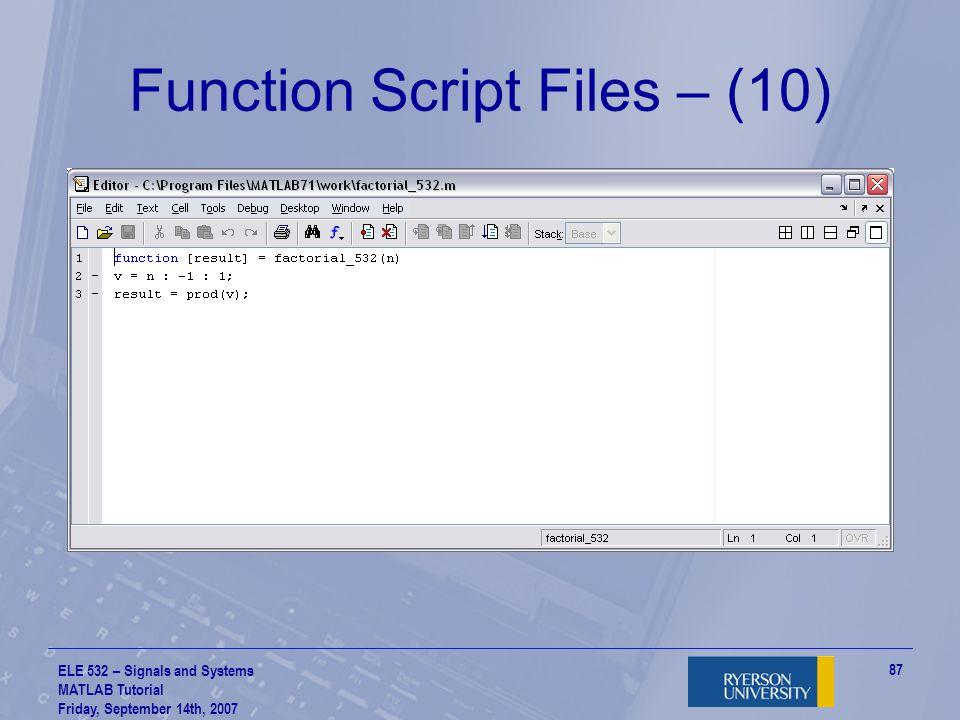 Function Script Files – (10)