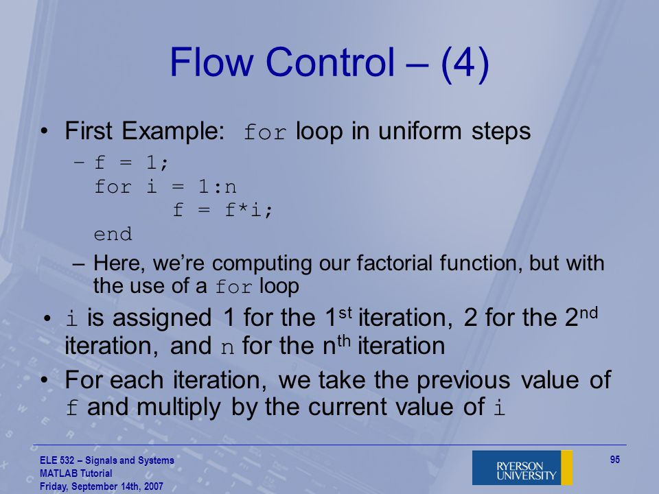 Flow Control – (4) First Example: for loop in uniform steps