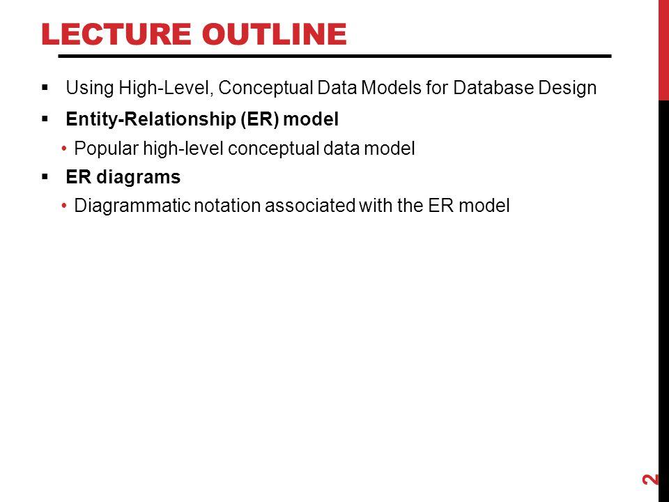 Lecture Outline Using High-Level, Conceptual Data Models for Database Design. Entity-Relationship (ER) model.