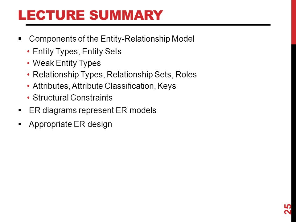 Lecture Summary Components of the Entity-Relationship Model