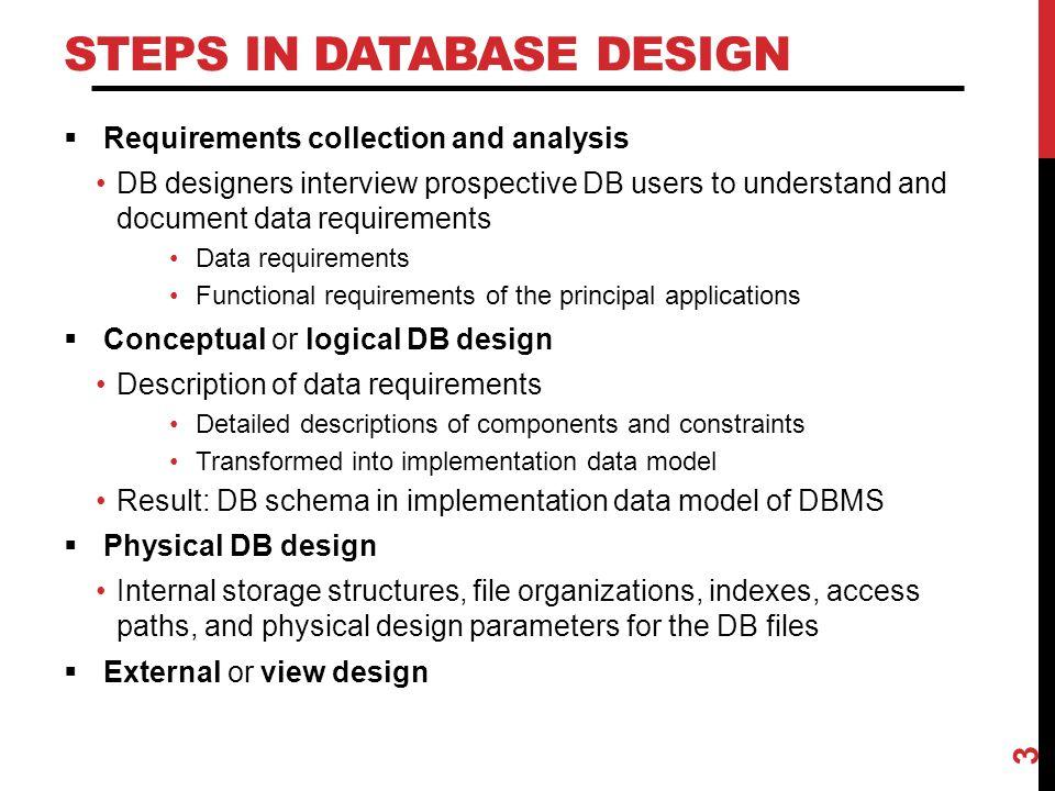 Steps in Database Design