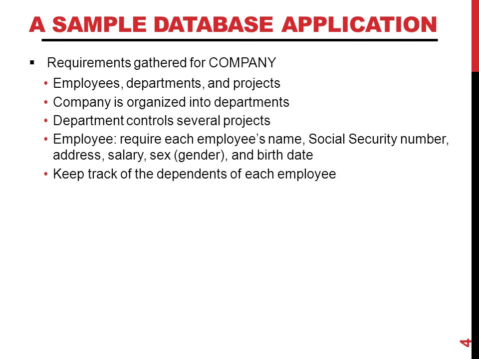 A Sample Database Application
