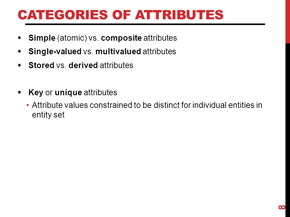 Categories of Attributes