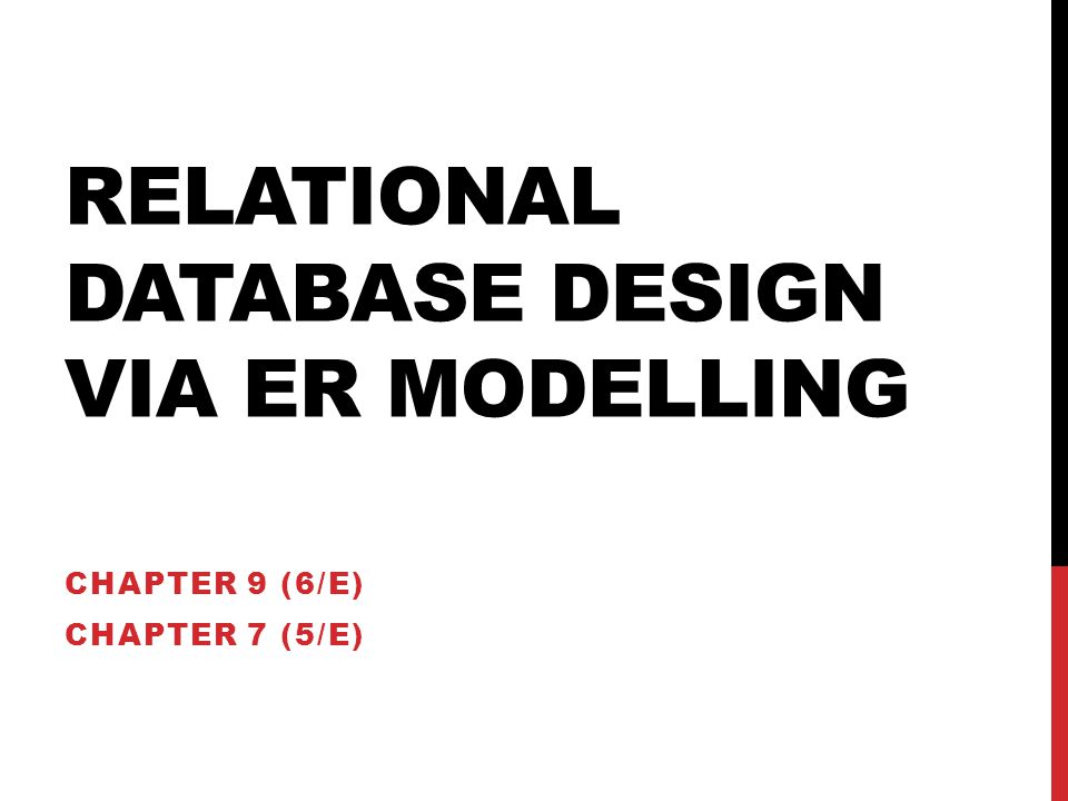 Relational Database Design Via ER Modelling