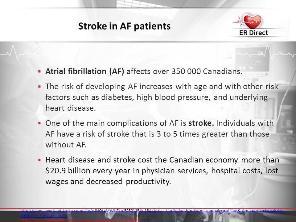 Stroke in AF patients Atrial fibrillation (AF) affects over 350 000 Canadians.
