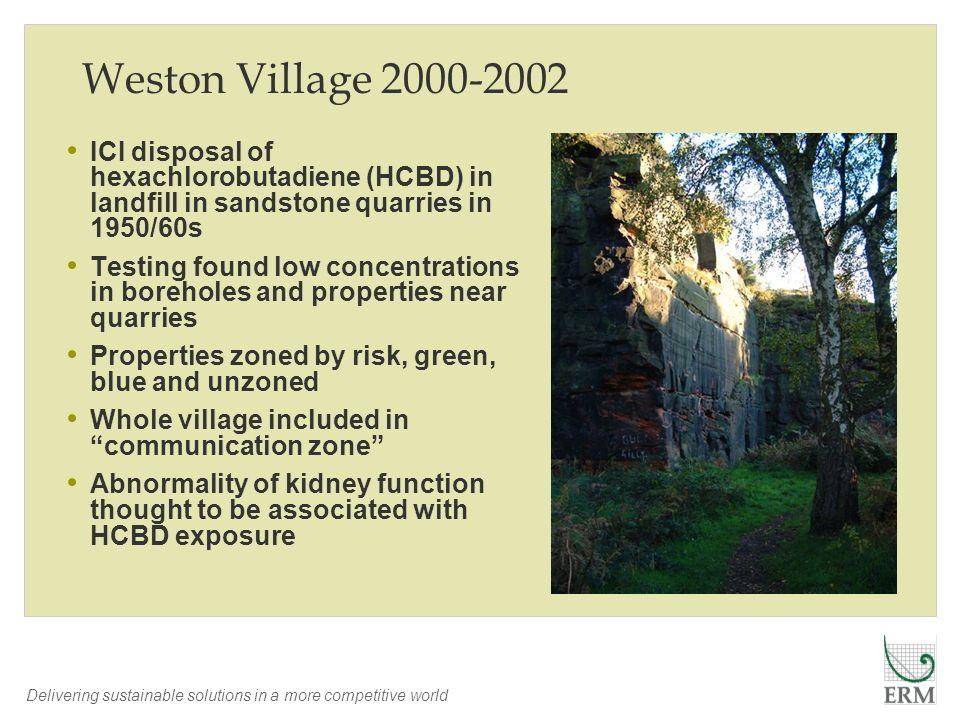 Weston Village 2000-2002 ICI disposal of hexachlorobutadiene (HCBD) in landfill in sandstone quarries in 1950/60s.
