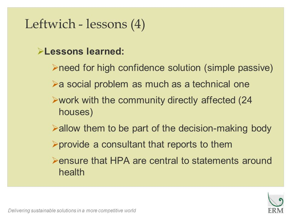Leftwich - lessons (4) Lessons learned: