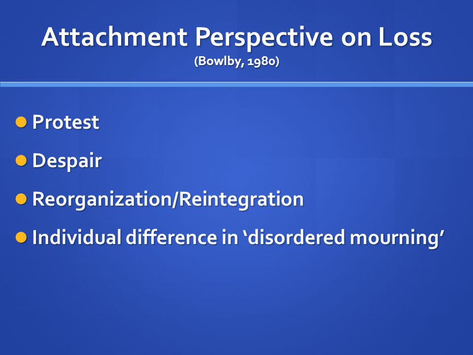 Attachment Perspective on Loss (Bowlby, 1980)