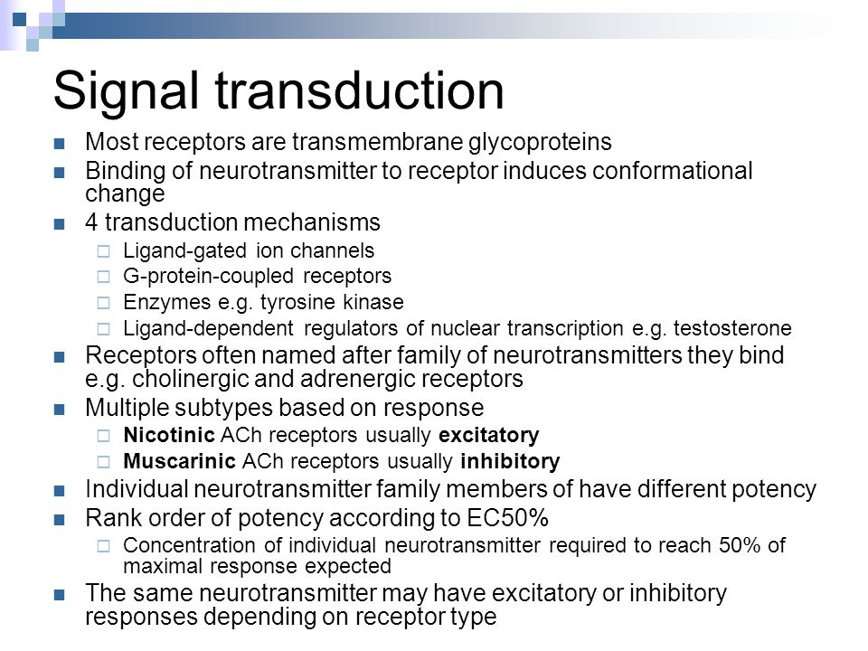 Signal transduction Most receptors are transmembrane glycoproteins