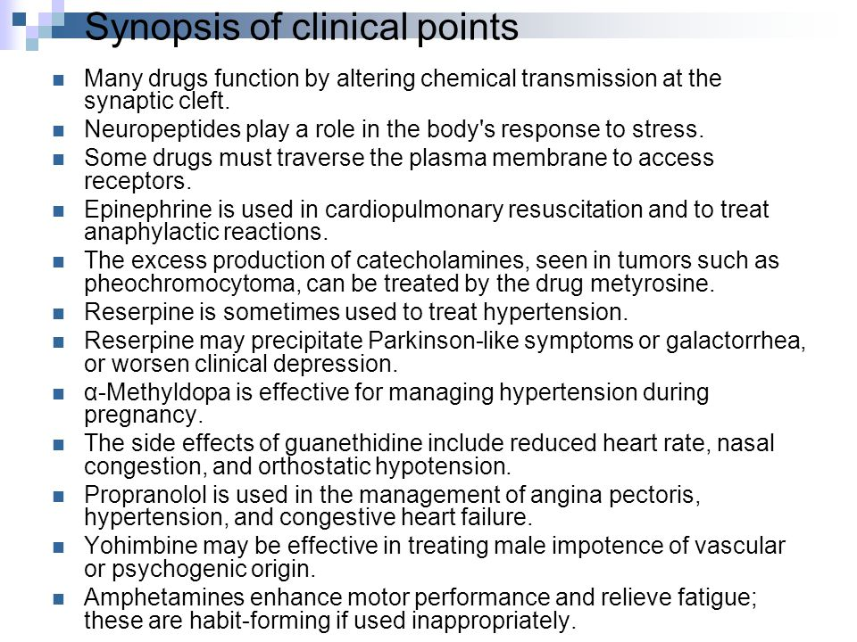 Synopsis of clinical points