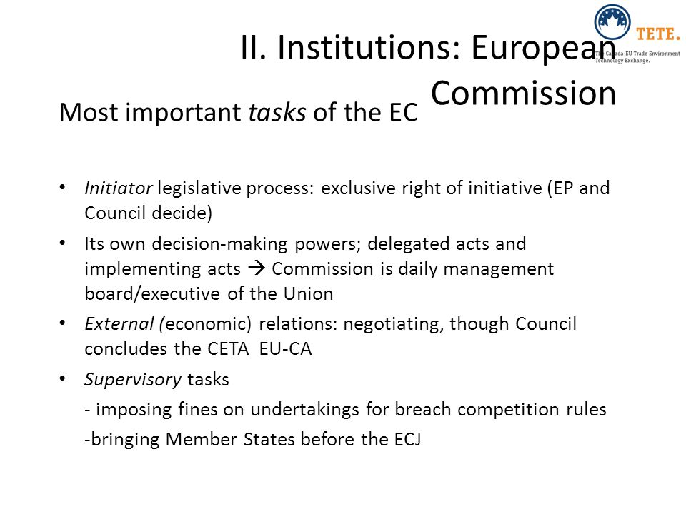 II. Institutions: European Commission