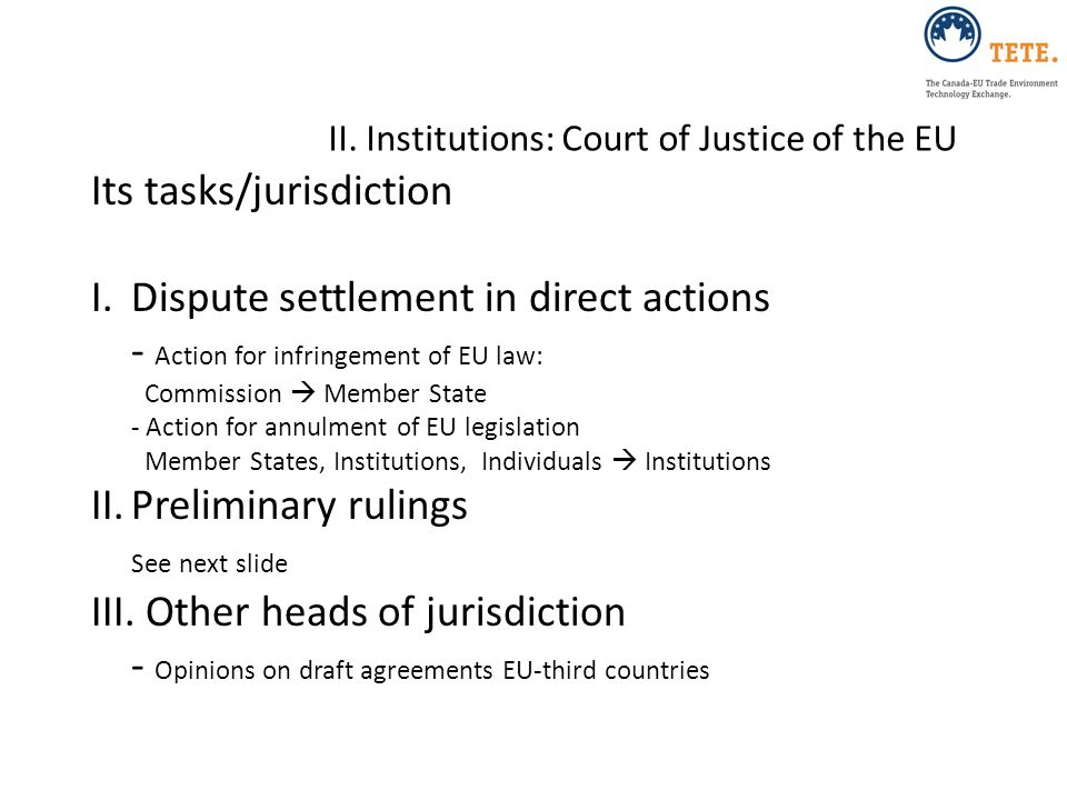 II. Institutions: Court of Justice of the EU