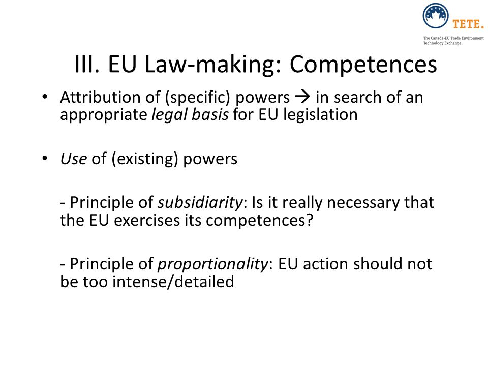III. EU Law-making: Competences