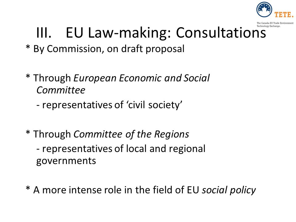III. EU Law-making: Consultations