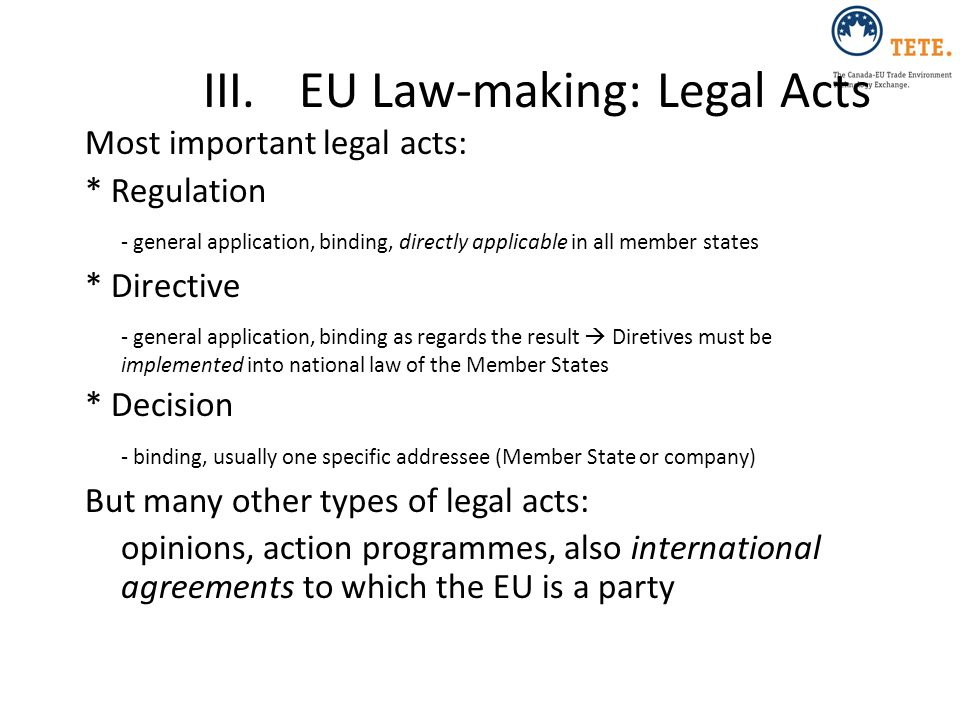 III. EU Law-making: Legal Acts