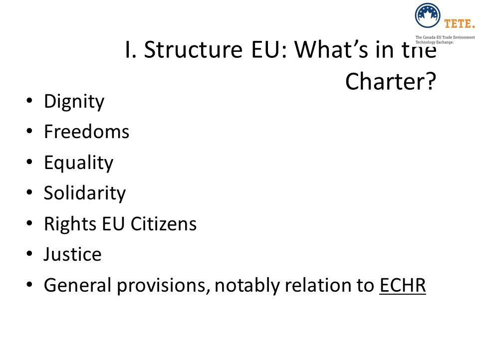 I. Structure EU: What's in the Charter