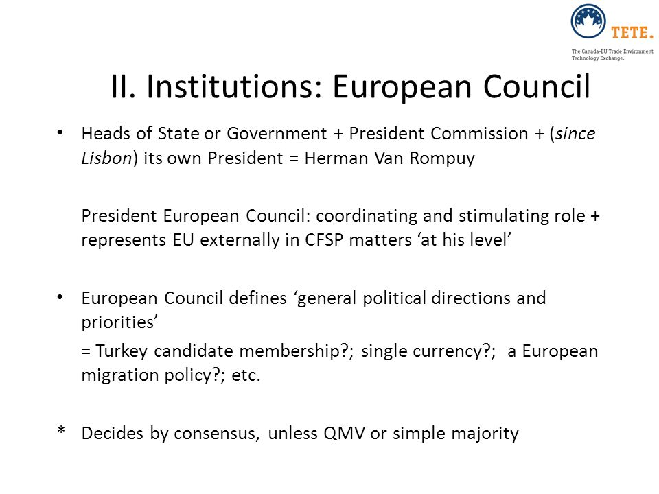 II. Institutions: European Council