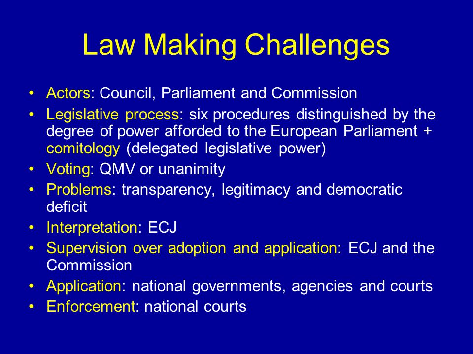 Law Making Challenges Actors: Council, Parliament and Commission