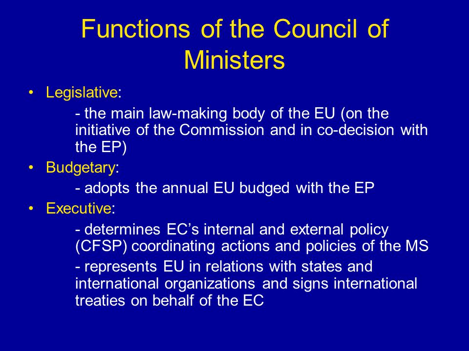 Functions of the Council of Ministers