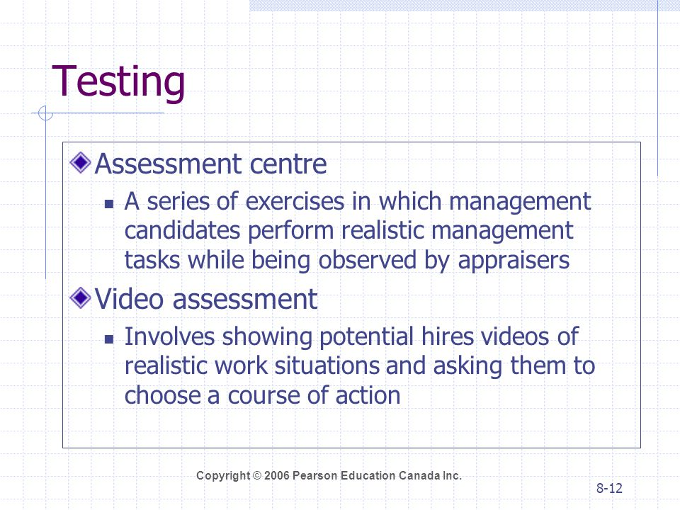 Testing Assessment centre Video assessment