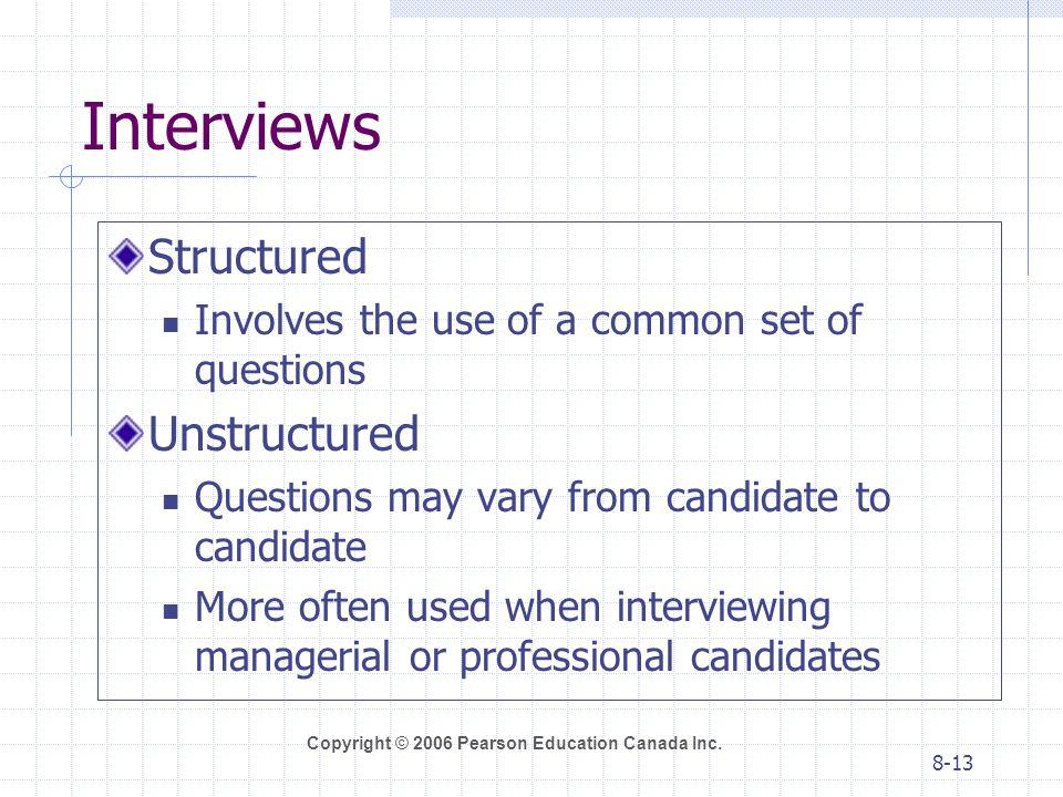 Interviews Structured Unstructured