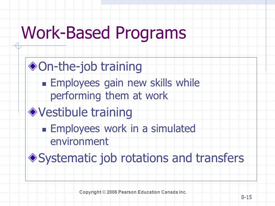Work-Based Programs On-the-job training Vestibule training