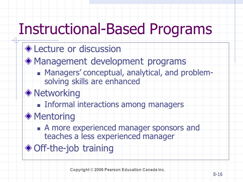 Instructional-Based Programs